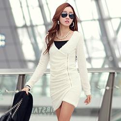 正韓 金蔥毛毛感側拉鍊連身裙 (白色)-N.C21
