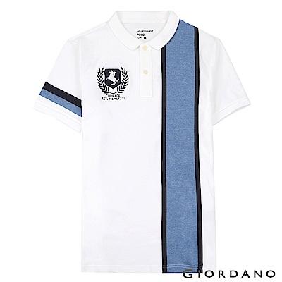 GIORDANO 男裝拿破崙刺繡徽章彈力棉POLO衫-22 標誌白/標誌海軍藍色