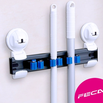 FECA非卡-無痕強力吸盤 武士活動式管夾組-3座 拖把/掃把收納固定座