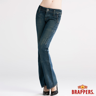 BRAPPERS 女款 女垮褲系列-中低腰大靴型褲-藍