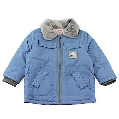 愛的世界 MYBABY 小狐狸毛領防風舖棉長袖外套/6~12歲