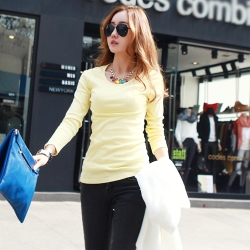 正韓 基本百搭款多色舒適棉T恤 (黃色)-N.C21