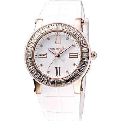 Juicy Couture WRH 羅馬晶鑽世界腕錶-白x玫塊金框/38mm