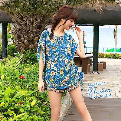 【AngelLuna日本泳裝】度假風情四件式比基尼泳衣-深藍一字領