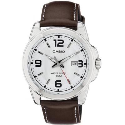 CASIO 簡約經典時尚指針日曆皮帶腕錶(MTP-1314L-7)白面/44.9mm