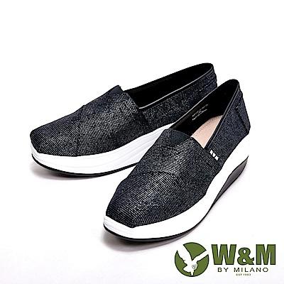 W&M BOUNCE系列 超彈力條格紋增高鞋 女鞋-光澤黑(另有白)