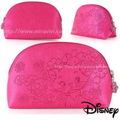Disney貝殼造型精緻壓紋化妝包/收納包-瑪莉貓