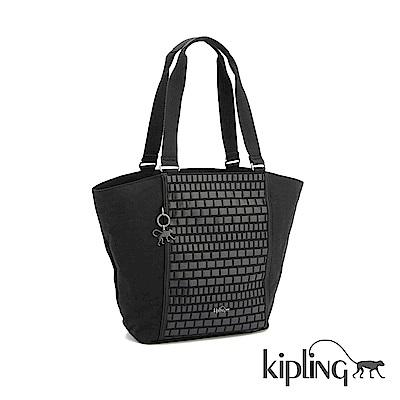 Kipling 手提包 黑色編織印花-大