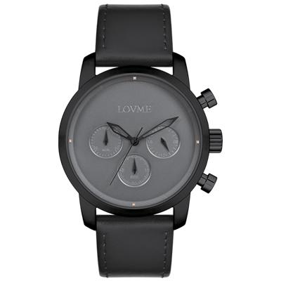 LOVME Stardust時尚手錶-IP黑x灰/43mm