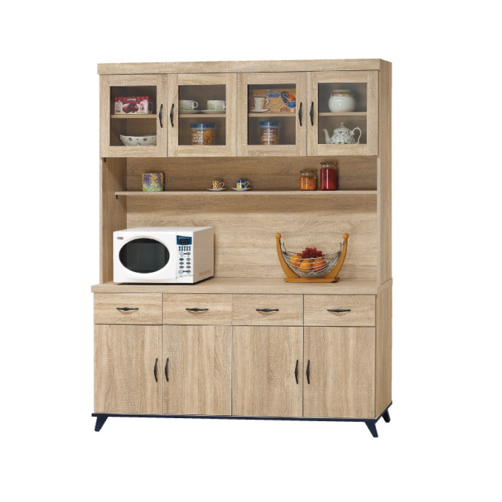 品家居 法美多5.4尺橡木紋餐櫃組合-160.5x40x201.5cm免組
