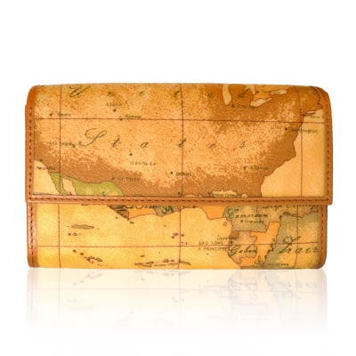 Alviero Martini 義大利地圖包 扣式12卡零錢中長夾-地圖黃