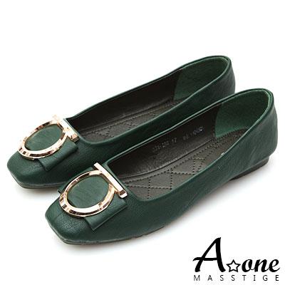 A one 金圓釦蝴蝶結方頭娃娃鞋-綠色