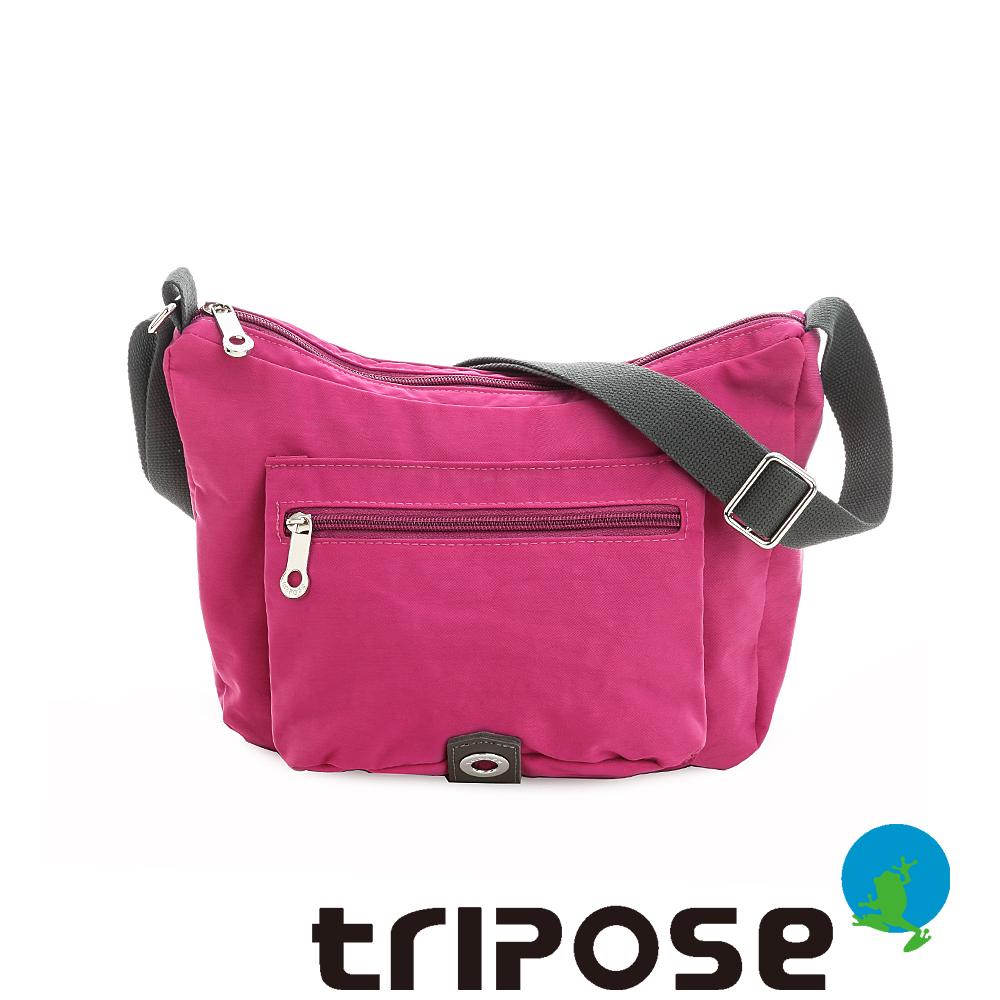tripose 微旅系列雙拉鍊斜背包 桃紅