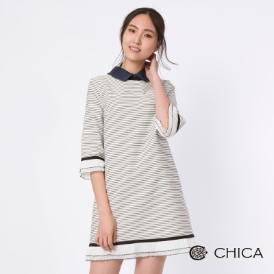 CHICA 歐式古典浪漫五分袖條紋設計洋裝(4色)