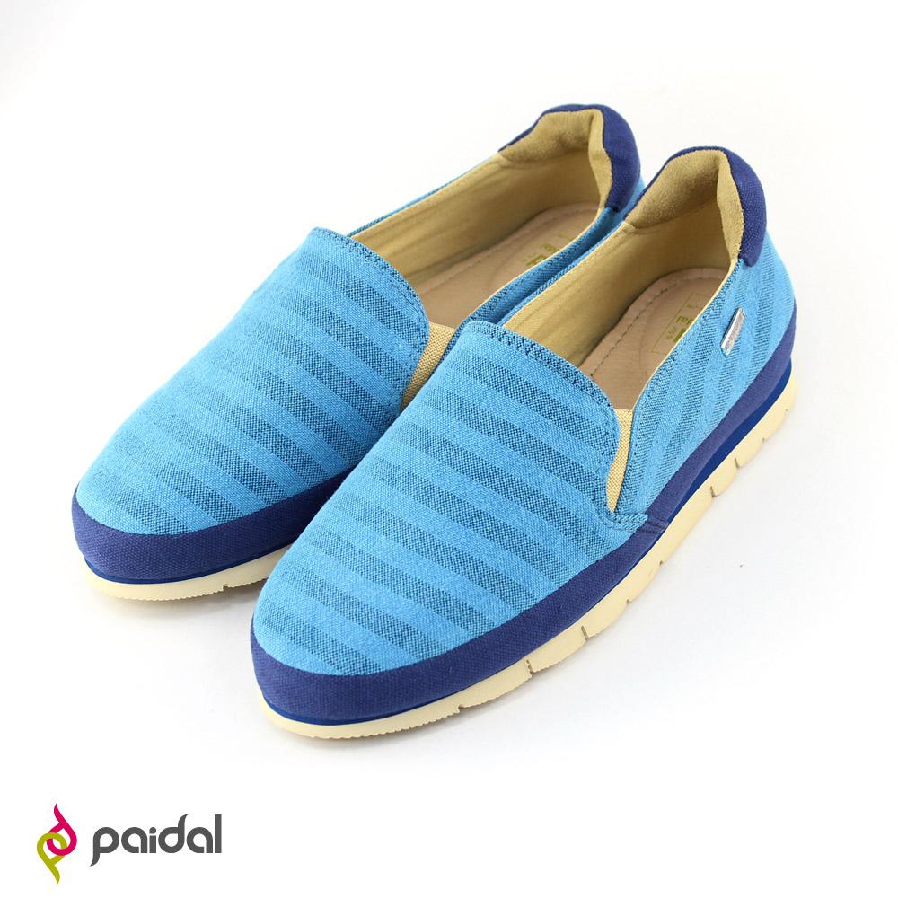 Paidal 繽紛橫條紋休閒鞋樂福鞋-藍