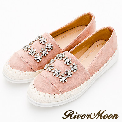 River&Moon大尺碼-蠟筆細絨方扣晶鑽麻編休閒懶人鞋-粉