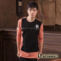 Dreamming 拼色圖標萊卡彈力長袖圓領T-共二色