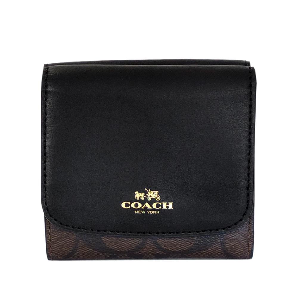 COACH黑色真皮拼接深咖啡C Logo三摺多卡短夾COACH