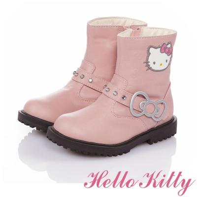 HelloKitty 傳統手工鞋廠高級超纖皮革童靴-粉色
