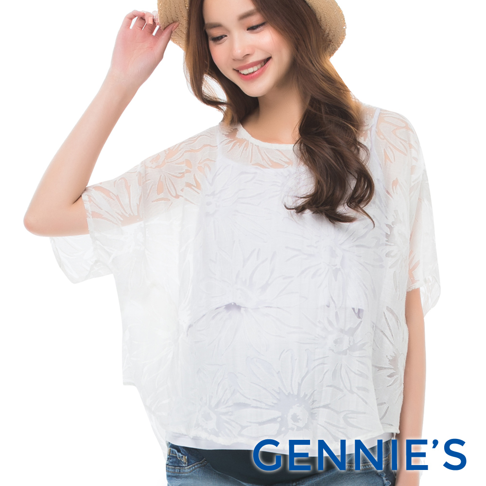 Gennies專櫃-精緻繡花透紗蕾絲上衣(C3B04-白)-M