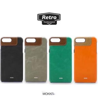 Mokka iphone 7 4.7 復古油蠟撞色手工拼接手機殼