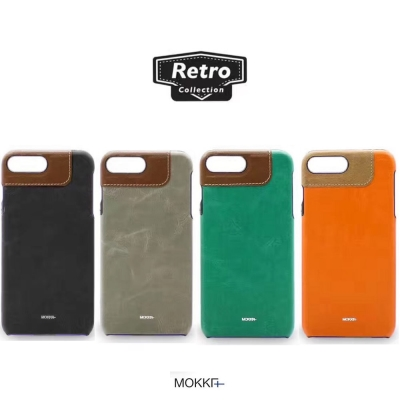 Mokka iphone 7 Plus 復古油蠟撞色手工拼接手機殼