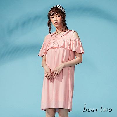 beartwo 彈性荷葉領口露肩洋裝(二色)