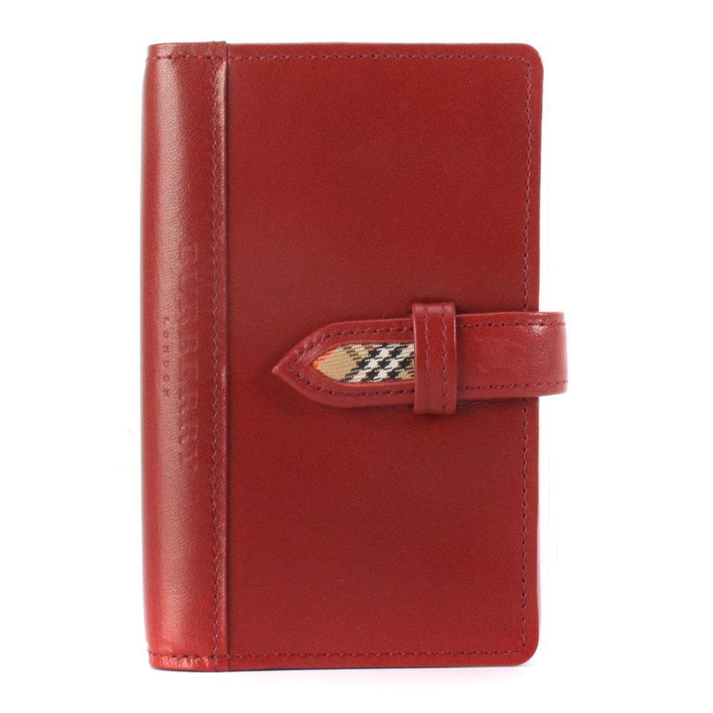 BURBERRY 黑標全皮革記事本-口袋型//紅