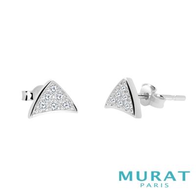 MURAT Paris米哈巴黎 時尚滿鑽三角耳環