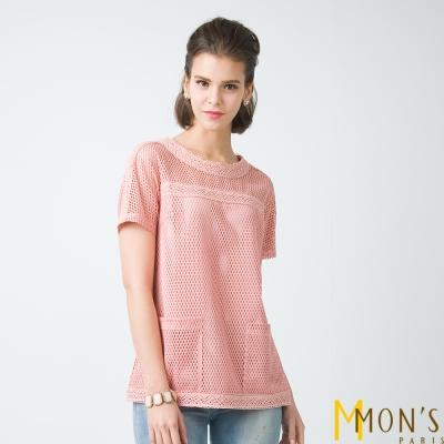 MONS 鏤空蕾絲口袋上衣