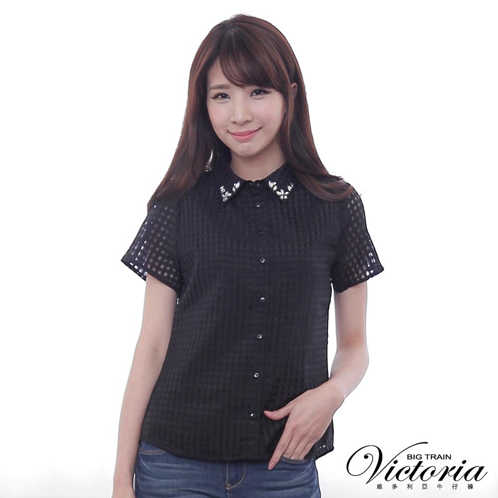 Victoria 襯衫領縫寶石透視布短袖襯衫-女-黑色