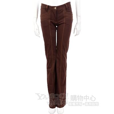CLASS roberto cavalli 咖啡色車縫線設計長褲