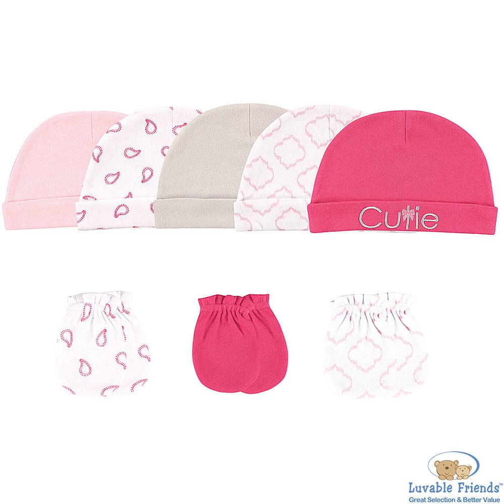 Luvable Friends 桃粉幾何變形蟲帽子手套8件組
