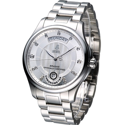 E.BOREL 依波路 GS7350WC3-2590 布拉克系列機械腕錶-銀白/41mm
