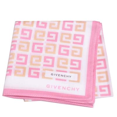 GIVENCHY 繽紛品牌圖騰字母LOGO帕領巾(粉紅邊/白底)