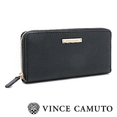 Vince Camuto 素面金屬LOGO百搭長夾-黑色
