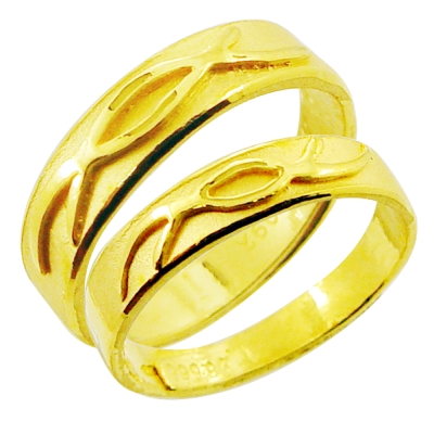 Manstyle 黃金對戒-琴瑟和鳴(約2.29錢)