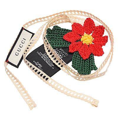 GUCCI 手織花朵造型蕾絲領結