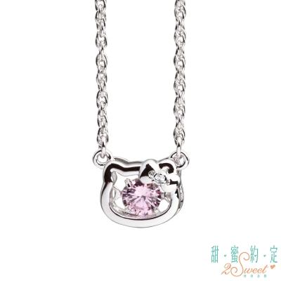 甜蜜約定 HelloKitty 幸運小物kitty純銀項鍊-粉紅