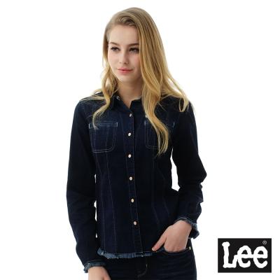 Lee 牛仔長袖襯衫擺流蘇設計-女款-深藍色