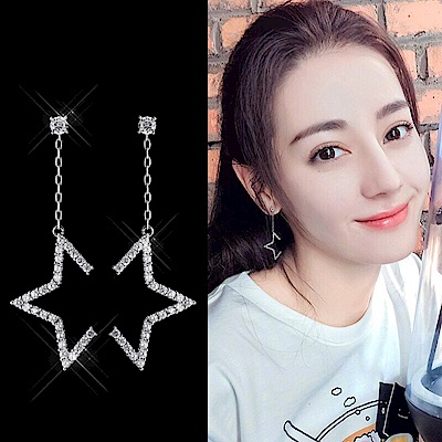 梨花HaNA 韓國925銀半鑽星光閃耀舞台垂線耳環