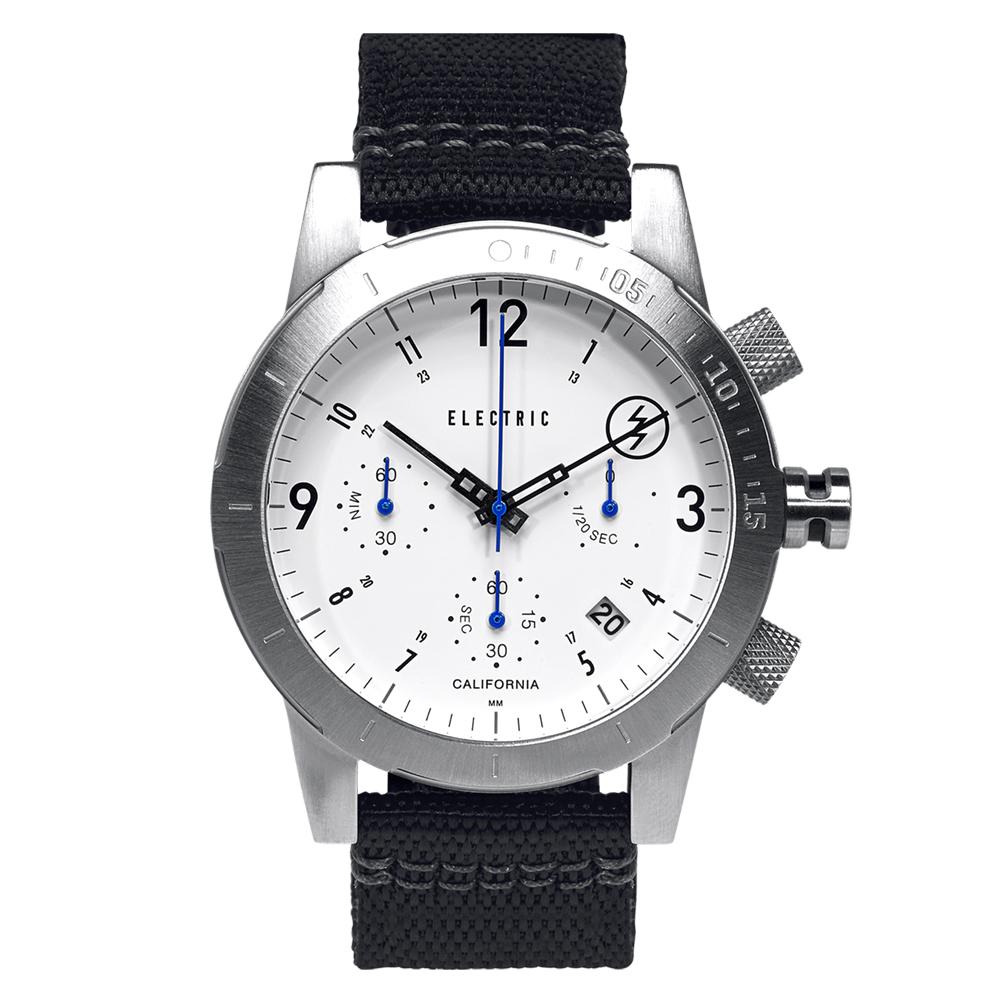 ELECTRIC FW02系列-復古強悍三眼計時腕錶-白x銀x黑帆布帶/44mm