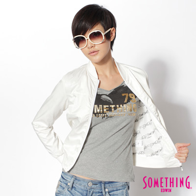 SOMETHING-千鳥格紋短版休閒夾克-女款-白色