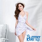 夏之戀SUMMERLOVE 比基尼泳裝 連身裙泳衣 浪漫淺紫