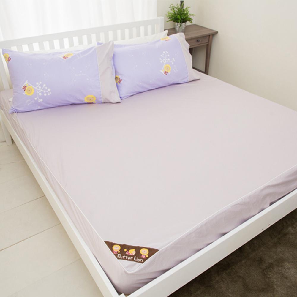 奶油獅-素雅葉語系列-台灣製造-100%精梳純棉床包二件組(幻紫)-單人3.5尺