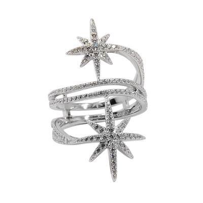 apm MONACO法國精品珠寶 閃耀銀色雙繁星鑲鋯戒指