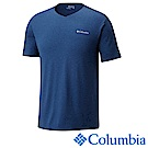 Columbia哥倫比亞 男-防曬50快排短袖上衣-深藍 UAE00680NY