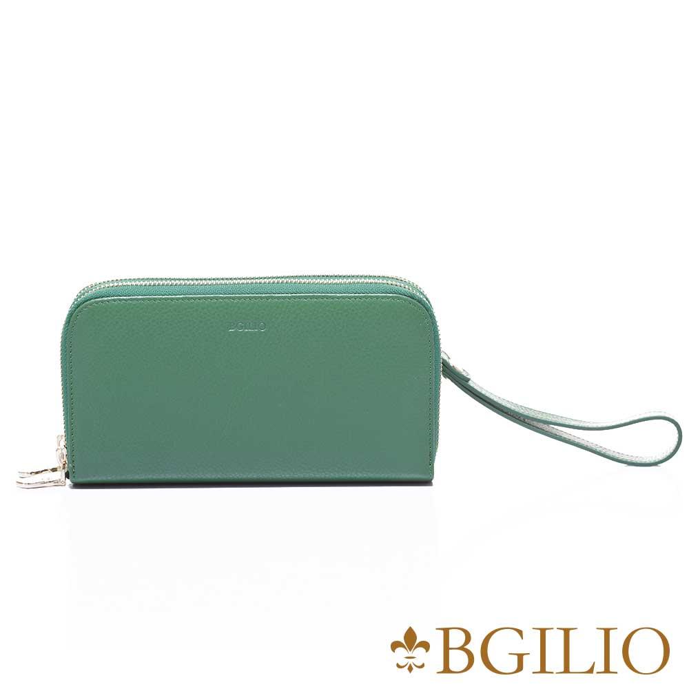 義大利BGilio 復古原味牛皮雙層拉鍊長夾(加厚版) -綠色1969.333-08