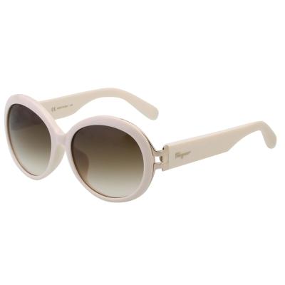 Salvatore Ferragamo- 復古圓框 太陽眼鏡(粉白色)SF 799 SA