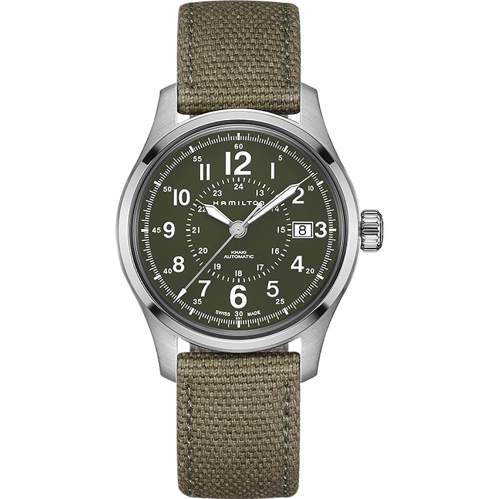 Hamilton KHAKI FIELD 軍事飛行戰鬥員機械腕錶-軍綠/40mm